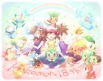 1girl 2boys bangs baseball_cap blue_oak brown_hair bulbasaur charmander chespin chikorita chimchar commentary_request cyndaquil dress fennekin fire flame froakie gen_1_pokemon gen_2_pokemon gen_3_pokemon gen_4_pokemon gen_5_pokemon gen_6_pokemon gloves green_(pokemon) hands_on_own_knees hat jacket kokoroko long_hair mudkip multiple_boys on_head oshawott pants pikachu piplup pokemon pokemon_(creature) pokemon_on_head purple_dress purple_shirt red_(pokemon) shirt shoes short_sleeves sidelocks snivy squirtle tepig torchic totodile treecko turtwig