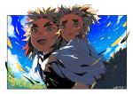 2boys :d black_jacket blonde_hair border brothers carrying commentary crying crying_with_eyes_open dated day flower happy_tears jacket japanese_clothes kimetsu_no_yaiba kimono kinako_(462) long_sleeves looking_away male_focus medium_hair multicolored_hair multiple_boys open_mouth outdoors piggyback redhead rengoku_kyoujurou rengoku_senjurou siblings sky smile spiky_hair sunflower tears two-tone_hair uniform upper_body upper_teeth white_border white_kimono wide_sleeves yellow_eyes