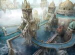 aqueduct arch architecture boat building day dome fantasy from_above highres magic:_the_gathering outdoors pier rooftop sailboat scenery sigil statue tower water watercraft waterfall yeong-hao_han