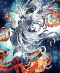 black_sclera claws closed_mouth commentary_request fire gen_5_pokemon highres kanna_(kan419_k) legendary_pokemon no_humans pokemon pokemon_(creature) reshiram solo white_fur