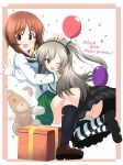 2girls :d ;d absurdres aikir_(jml5160) balloon bandages bangs black_footwear black_legwear black_neckwear black_ribbon black_skirt blouse boko_(girls_und_panzer) brown_eyes brown_footwear brown_hair casual character_name commentary confetti english_text eyebrows_visible_through_hair floating gift girls_und_panzer green_skirt hair_ribbon hand_on_another's_head happy_birthday high-waist_skirt highres hug light_brown_hair loafers long_hair long_sleeves looking_at_viewer looking_back mary_janes medium_skirt miniskirt multiple_girls neckerchief nishizumi_miho one_eye_closed one_side_up ooarai_school_uniform open_mouth outside_border panties pantyshot pleated_skirt ribbon sailor_collar school_uniform serafuku shimada_arisu shirt shoes short_hair skirt smile socks striped striped_legwear stuffed_animal stuffed_toy suspender_skirt suspenders teddy_bear thigh-highs underwear white_blouse white_sailor_collar white_shirt