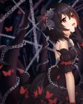 1girl absurdres bare_back bare_shoulders black_hair bug butterfly chain detached_sleeves dress frills gloves hair_ornament hand_on_own_chin highres honkai_(series) honkai_impact_3rd insect milira open_mouth red_eyes seele_vollerei short_hair smile straight_hair tentacles