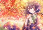 1girl absurdres autumn blush hands_together highres huge_filesize idolmaster idolmaster_shiny_colors japanese_clothes kimono leaf looking_at_viewer maple_leaf medium_hair morino_rinze namamake open_mouth outdoors purple_hair red_eyes sidelocks solo standing tree