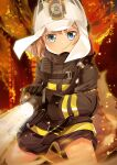 1girl animal_ears_helmet arknights bangs black_gloves black_jacket black_shorts blue_eyes brown_hair commentary cosplay cowboy_shot eyebrows_visible_through_hair fire fire_helmet fire_jacket firefighter gloves hachijou_(kantai_collection) helmet highres holding_hose hose jacket kantai_collection light_particles long_sleeves looking_at_viewer oxygen_tank shaw_(arknights) shaw_(arknights)_(cosplay) short_hair short_shorts shorts sidelocks solo standing standing_on_one_leg yasume_yukito