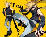1boy bare_shoulders belt black_scarf black_shirt black_sleeves blonde_hair blue_eyes boots bridal_gauntlets character_name commentary covered_mouth denim diamond_cutout eyeliner highres japanese_clothes jeans kagamine_len looking_at_viewer makeup male_focus motu0505 multiple_views nail_polish pants ribbon scarf shirt short_ponytail sleeveless sleeveless_shirt solo spiky_hair standing vocaloid yellow_background yellow_nails