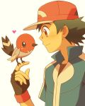 1boy ash_ketchum baseball_cap bird black_gloves black_hair black_shirt blue_jacket brown_eyes commentary_request cyaneko fingerless_gloves fletchling gen_6_pokemon gloves hat heart jacket male_focus pokemon pokemon_(anime) pokemon_(creature) pokemon_xy_(anime) red_headwear shirt short_sleeves white_background