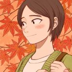 1girl 2016 autumn_leaves blush brown_hair dated green_sweater kohei_nakaya leaf maple_leaf original original_content portrait shirt short_hair smile solo sweater white_shirt