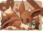 :3 blush bow brown_bow brown_eyes brown_fur buttons closed_mouth commentary_request eevee gen_1_pokemon hairband kuronekotarou looking_at_another no_humans paws pokemon pokemon_(creature) polka_dot_hairband red_hairband smile zipper zipper_pull_tab