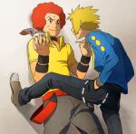 2boys afro belt black_choker black_pants blonde_hair blue_jacket brown_footwear choker closed_mouth commentary_request fingernails flint_(pokemon) hand_in_pocket holding holding_spoon jacket long_sleeves looking_at_another male_focus multiple_boys pants pokemon pokemon_(game) pokemon_dppt pokipoki redhead shirt shoes spoon sweat volkner_(pokemon) wall_slam yellow_shirt