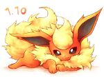 black_eyes closed_mouth commentary_request flareon full_body fur gen_1_pokemon kuronekotarou looking_at_viewer lying no_humans on_stomach paws pokemon pokemon_(creature) smile solo yellow_fur