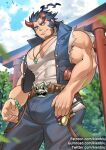 1boy bara bare_arms bare_shoulders bulge chest cowboy_shot dark_blue_hair facial_hair fang gumroad_username hammer horns jewelry kienbiu male_focus muscle necklace patreon_username shirt short_hair sideburns sleeveless sleeveless_shirt solo stubble takemaru_(tokyo_houkago_summoners) taut_clothes taut_shirt thick_eyebrows tokyo_houkago_summoners torn_clothes twitter_username