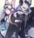 1boy 1girl animal_ear_fluff animal_ears arknights bangs black_gloves black_jacket cardigan_(arknights) commentary_request cowboy_shot dog_ears eyebrows_visible_through_hair fingerless_gloves furry gloves goggles goggles_on_head hair_between_eyes holding holding_shield jacket long_hair looking_at_viewer open_mouth sasa_onigiri shield smile spot_(arknights) violet_eyes