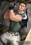 1boy bara biceps brown_hair chris_redfield cowboy_shot facial_hair fingerless_gloves gloves green_shirt gumroad_username gun handgun holding holding_gun holding_weapon kienbiu male_focus muscle pants patreon_username resident_evil resident_evil_5 shirt short_hair solo spread_legs stubble taut_clothes taut_shirt thick_thighs thighs tight_shirt twitter_username weapon white_pants