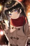 1girl bangs black_hair blue_eyes blurry blurry_background blush brown_jacket can closed_mouth commentary depth_of_field enpera eyebrows_visible_through_hair hair_ornament hairclip hand_up head_tilt highres holding holding_can jacket kanniiepan long_hair long_sleeves looking_at_viewer nijisanji red_scarf scarf smile solo tsukino_mito upper_body virtual_youtuber