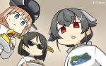 3girls alternate_costume bangs bismarck_(kantai_collection) black_hair blonde_hair casual commentary_request dated eating empty_eyes eyebrows_visible_through_hair food fork from_below hair_flaps hair_ornament hairclip hamu_koutarou highres jingei_(kantai_collection) kantai_collection kirishima_(kantai_collection) long_hair low_ponytail multiple_girls nice_boat open_mouth pasta red_eyes short_hair signature spaghetti sunglasses sweater upper_body white_sweater