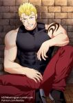 1boy bara bare_arms bare_shoulders blonde_hair chest covered_abs elbow_rest fairy_tail feet_out_of_frame kienbiu laxus_dreyar leg_up male_focus muscle pants patreon_username red_pants shirt short_hair shoulder_tattoo sleeveless sleeveless_shirt solo spiky_hair tattoo taut_clothes taut_shirt