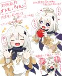 +++ 1girl :d ^_^ apple arms_up bangs black_cape blush boots cape closed_eyes commentary_request eyebrows_visible_through_hair facing_viewer food fruit genshin_impact hair_between_eyes halo heart highres holding holding_food holding_fruit knee_boots long_sleeves makuran multiple_views open_mouth paimon_(genshin_impact) pom_poms red_apple round_teeth silver_hair simple_background single_thighhigh smile teeth thigh-highs thighhighs_under_boots translation_request upper_teeth violet_eyes white_background white_footwear white_legwear wide_sleeves