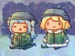 :d =_= blonde_pubic_hair blue_hair chibi commentary english_commentary gawr_gura green_jacket green_pants helmet highres hololive hololive_english jacket kirbym military military_uniform open_mouth outdoors pants parody shoujo_shuumatsu_ryokou sitting smile snow snowing uniform watson_amelia |_|