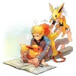 ... 2boys afro barefoot blonde_hair blue_jacket clipping_nails closed_mouth commentary_request flareon flint_(pokemon) gen_1_pokemon holding holding_pokemon jacket jolteon long_sleeves male_focus multiple_boys nail_clippers newspaper nona_(831korokke) pants pokemon pokemon_(creature) pokemon_(game) pokemon_dppt redhead shirt short_sleeves sitting smile spoken_ellipsis teeth toes volkner_(pokemon) yellow_shirt
