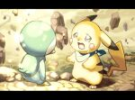 commentary_request crying fushigi_no_dungeon gen_1_pokemon gen_4_pokemon ginziro letterboxed looking_at_another no_humans open_mouth paws pikachu piplup pokemon pokemon_(creature) pokemon_(game) pokemon_mystery_dungeon rock standing tail tears tongue