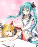 2girls absurdres bangs bare_arms blonde_hair blue_eyes blue_hair blue_nails blush checkered checkered_ribbon closed_mouth commentary covering_with_blanket dress eyebrows_visible_through_hair hair_between_eyes hair_ornament hair_ribbon hairclip hatsune_miku highres kagamine_rin long_hair mechanical_pencil multiple_girls nail_polish open_clothes open_vest pencil pentagon_(railgun_ky1206) project_sekai ribbon sleeveless sleeveless_dress smile twintails very_long_hair vest vocaloid white_dress white_vest