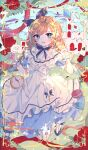 1girl absurdres alice_(wonderland) alice_in_wonderland blonde_hair blue_eyes braid dress fang highres huge_filesize jumping looking_to_the_side mole mole_under_mouth open_mouth solo twin_braids white_dress wine_(2148_wine)