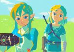 1boy 1girl black_gloves blonde_hair blue_eyes blue_sky braid clouds cloudy_sky cosplay costume_switch denaseey earrings elf fingerless_gloves french_braid gloves grass holding hylian jewelry link long_sleeves nintendo nintendo_ead outdoors pointy_ears princess_zelda sheikah_slate short_hair sky smile solo sword the_legend_of_zelda the_legend_of_zelda:_breath_of_the_wild the_legend_of_zelda:_breath_of_the_wild_2 weapon