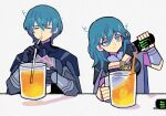 1boy 1girl aqua_hair bags_under_eyes blue_eyes byleth_(fire_emblem) byleth_(fire_emblem)_(female) byleth_(fire_emblem)_(male) can denaseey drinking drinking_straw fire_emblem fire_emblem:_three_houses long_hair monster_energy short_hair smile upper_body