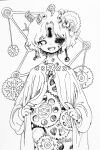 1girl :d earrings fingernails freckles gears greyscale jewelry keyhole lineart long_sleeves looking_at_viewer monochrome open_mouth original shima_(wansyon144) short_hair smile solo tagme upper_body