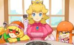 3girls bangs beanie blonde_hair blue_eyes blunt_bangs breasts commentary_request domino_mask earrings elbow_gloves fang food fork gem gloves green_eyes hat highres holding holding_fork indoors inkling jewelry katwo large_breasts long_hair lower_teeth mask min_min_(arms) multiple_girls orange_hair plate pointy_ears princess_peach puffy_short_sleeves puffy_sleeves shirt short_hair short_sleeves super_smash_bros. sweatdrop teeth white_gloves window