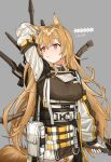 1girl animal_ears arknights breasts ceobe_(arknights) character_name dog_ears dog_tail grey_background highres large_breasts light_brown_hair long_hair oripathy_lesion_(arknights) pink_eyes skss tail weapon weapon_on_back