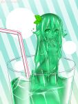1girl breasts cup dot_nose drinking_glass drinking_straw green_eyes green_hair green_sclera green_skin hair_leaf hand_up highres in_container in_cup kixyuresu long_hair looking_at_viewer minigirl monster_girl navel nude original parted_lips slime_girl small_breasts solo standing striped striped_background twitter_username