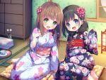 2girls :d absurdres asa_no_ha bangs barefoot black_hair black_kimono blue_eyes blunt_bangs braid brown_hair chest_of_drawers cup cushion floral_print flower folded_clothes green_eyes hair_flower hair_ornament highres japanese_clothes kimono lantern low_twintails medium_hair mimikaki moon multiple_girls night non-web_source obi open_mouth original paper_lantern print_kimono sash saucer sidelocks sitting smile tatami teacup toes tray twin_braids twintails upper_teeth white_kimono wide_sleeves window x_hair_ornament