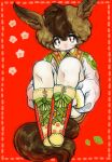 1boy androgynous animal_ears boots border bright_pupils brown_eyes brown_hair closed_mouth cross-laced_footwear dotted_line green_ribbon highres jacket leg_hug long_sleeves looking_at_viewer male_focus original red_background ribbon shima_(wansyon144) sitting smile solo tail white_jacket white_pupils