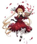 1girl blonde_hair blue_eyes bonnet book crossover dress drill_hair frilled_dress frills full_body gothic_lolita holding holding_book ji_no lolita_fashion long_hair looking_at_viewer mary_janes official_art petals red_dress rozen_maiden shinku shoes sinoalice solo transparent_background very_long_hair