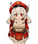 1girl brown_gloves character_request closed_mouth cowboy_shot ddari genshin_impact gloves hat highres holding jacket looking_at_viewer pointy_ears red_eyes red_headwear red_jacket simple_background smile solo standing twintails white_background white_hair