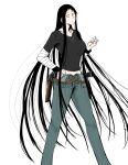 1girl black_clothes blue_dress curvy dress fashion highres hime_cut koumori_kuroko long_hair murcielago scar tall tall_female