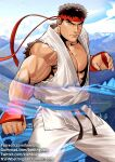 1boy bara bare_arms bare_chest black_hair chest cowboy_shot dougi fingerless_gloves gloves gumroad_username hadouken headband kienbiu male_focus muscle pants patreon_username ryu_(street_fighter) short_hair sleeveless solo street_fighter thick_thighs thighs torn_clothes twitter_username white_pants