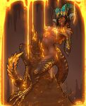 1girl bangs bare_shoulders black_hair blunt_bangs breasts dark_skin dated gold groin highres horns humanization kulve_taroth looking_at_viewer molten_metal monster_girl monster_hunter monster_hunter:_world muhut navel pointy_ears signature solo stalagmite tail