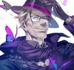 1boy alternate_costume asukasuka black_scarf blue_butterfly blue_eyes bug collar cropped_shoulders face facial_hair fate/grand_order fate_(series) formal glasses gloves grey_hair hat insect james_moriarty_(fate/grand_order) long_sleeves looking_at_viewer male_focus mustache portrait scarf short_hair simple_background smile top_hat
