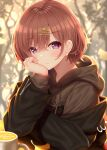 1girl absurdres bangs bare_tree black_jacket blurry blurry_background blush bobby_pin brown_hair brown_hoodie closed_mouth commentary_request cup depth_of_field drawstring eyebrows_visible_through_hair ginkgo_leaf hair_between_eyes hair_ornament hairclip highres higuchi_madoka hood hood_down hoodie idolmaster idolmaster_shiny_colors jacket long_sleeves looking_at_viewer mole mole_under_eye mug off_shoulder open_clothes open_jacket puffy_long_sleeves puffy_sleeves short_hair solo tree upper_body violet_eyes yunagi_amane