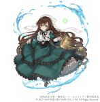 1girl brown_hair crossover dress dress_lift drill_hair frilled_dress frills full_body gothic_lolita green_dress green_eyes heterochromia highres ji_no lolita_fashion long_hair looking_at_viewer official_art red_eyes rozen_maiden sinoalice smile solo square_enix suiseiseki very_long_hair water watering_can white_background