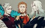 3boys asukasuka beard black_gloves brown_hair bug butterfly facial_hair fate/apocrypha fate/grand_order fate_(series) gloves gradient_hair grey_background insect james_moriarty_(fate/grand_order) long_hair looking_at_viewer male_focus multicolored_hair multiple_boys mustache one_eye_closed pale_skin short_hair simple_background smile upper_body vest vlad_iii_(fate/apocrypha) white_hair william_shakespeare_(fate)