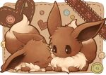 :3 blush brown_eyes brown_fur buttons closed_mouth commentary_request eevee gen_1_pokemon kuronekotarou looking_at_another no_humans paws pokemon pokemon_(creature) smile zipper zipper_pull_tab