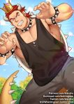 1boy armpit_peek baggy_clothes bara bare_shoulders black_tank_top bowser bracelet chest collar cowboy_shot crocodilian_tail crown facial_hair forked_eyebrows grey_pants gumroad_username humanization jewelry kienbiu king_koopa male_focus muscle orange_hair pants patreon_username paw_pose sharp_teeth short_hair sideburns solo spiked_bracelet spiked_collar spikes spread_legs stubble tank_top teeth the_super_mario_bros._super_show! thick_thighs thighs twitter_username