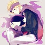 1boy achiki black_sweater blonde_hair closed_mouth commentary_request gastly gen_1_pokemon headband highres holding holding_pokemon long_sleeves looking_at_viewer male_focus morty_(pokemon) pants pokemon pokemon_(creature) pokemon_(game) pokemon_hgss purple_headband purple_scarf ribbed_sweater scarf sitting sweater violet_eyes white_pants