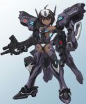 1girl breasts brown_hair cosplay cowlick dark_skin dual_wielding gun holding holding_gun holding_weapon looking_at_viewer mecha_musume muvluv muvluv_alternative muvluv_total_eclipse sidehiwinder small_breasts smile solo standing tarisa_manandal type_94_shiranui type_94_shiranui_(cosplay) under_boob violet_eyes weapon
