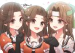 3girls artist_name black_gloves black_neckwear blush brown_eyes brown_hair collarbone commission dated elbow_gloves eyebrows_visible_through_hair gloves hair_intakes half_updo jintsuu_(kantai_collection) kantai_collection koruri long_hair multiple_girls multiple_persona neckerchief open_mouth petals remodel_(kantai_collection) sailor_collar school_uniform serafuku short_sleeves signature skeb_commission smile upper_teeth white_background white_sailor_collar