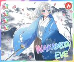 1girl bang_dream! blue_eyes blush clouds collarbone hair_between_eyes highres petals robe seojinhui shiny smile star_(symbol) sword tree wakamiya_eve weapon white_hair