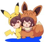 2girls :3 akagi_(kantai_collection) brown_eyes brown_hair closed_eyes commentary_request cosplay eevee eevee_(cosplay) full_body gen_1_pokemon gotcha! highres jacket kaga_(kantai_collection) kantai_collection looking_at_viewer multiple_girls open_clothes open_jacket pako_(pousse-cafe) pikachu pikachu_(cosplay) pikachu_costume pokemon simple_background standing white_background younger
